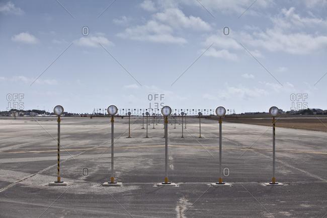 Runway Lights on tarmac at airfield