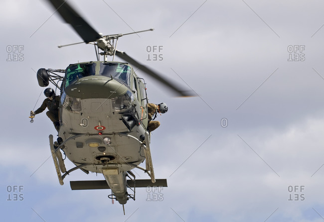 Military helicopter carrying out a medevac