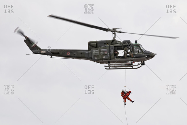 Luqa, Malta - September 11, 2011: Military helicopter carrying out a medevac