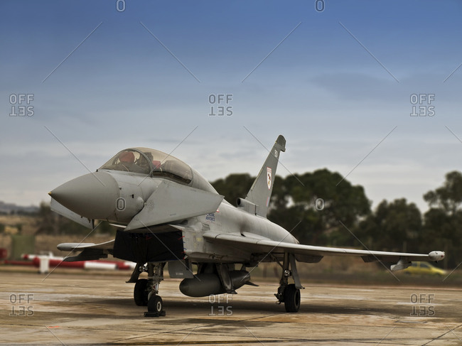Luqa, Malta - September 27, 2008: European jet fighter aircraft on apron at Luqa airfield in Malta