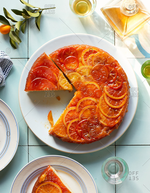 Overhead view of a tasty citrus cake sliced