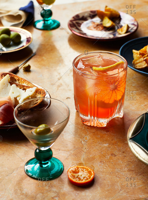 Close up of cocktails and appetizers