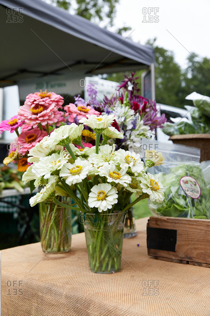Beautiful flowers for sale at a farmer's market