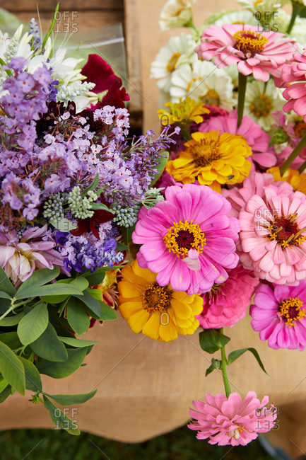 Overhead view of beautiful flowers for sale at a farmer's market
