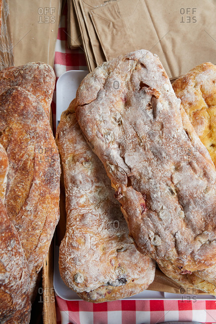 Homemade loaves of bread for sale at a farmers market