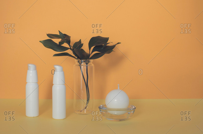 Round candle beside two cosmetic bottles and leafy plant