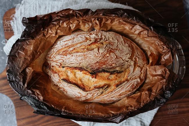 Homemade artisan bread in a baking dish