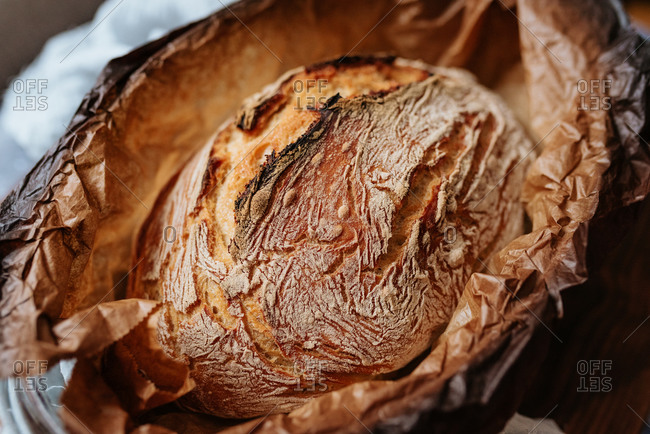 Close up of homemade artisan bread in a baking dish