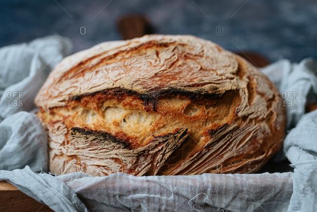 Close up of homemade artisan bread
