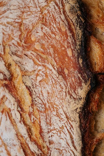 Detail of homemade artisan bread