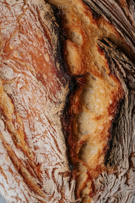 Texture of homemade artisan bread