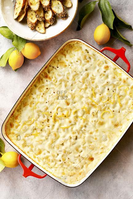 Meyer lemon mac and cheese with crostini