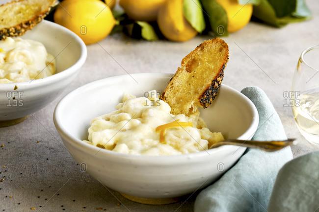 Close up of Meyer lemon mac and cheese