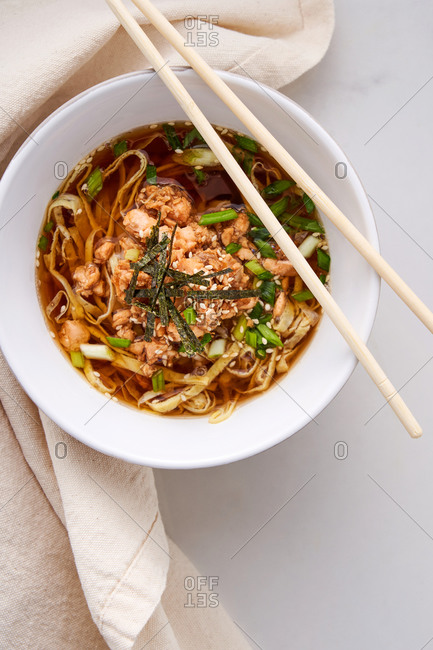 Easy Asian soup with fish and egg noodles