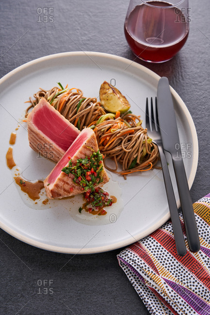 Quick seared ahi tuna steaks with soba noodles