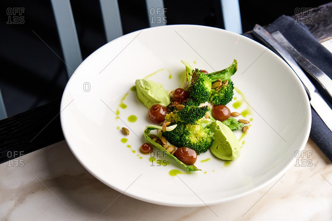 Green gourmet dish with bok choy and broccoli