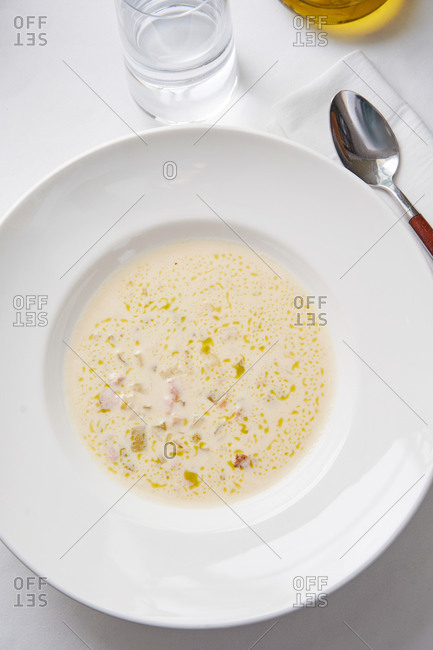 Finnish fish soup with salmon, cream and potatoes