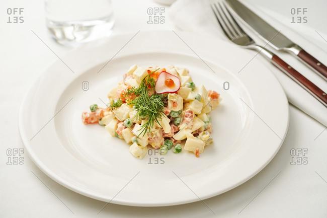Salad Olivier, Russian potato salad with caviar