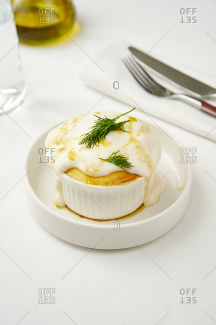 Single serving of classic British shepherd's pie with bechamel sauce
