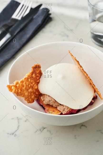 Gourmet dessert � contemporary interpretation of French classic cherry clafoutis