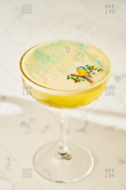 Elegant craft yellow cocktail with hummingbird decoration