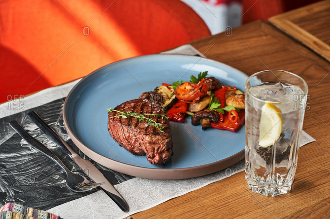 Balanced dinner of grilled beef steak and roasted vegetables