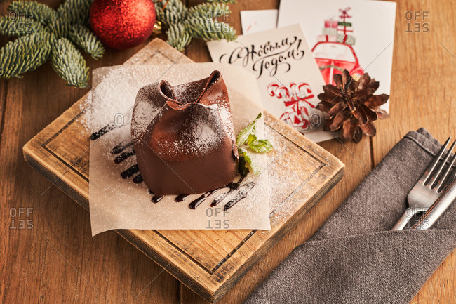 Beautifully presented black forest cherry dessert