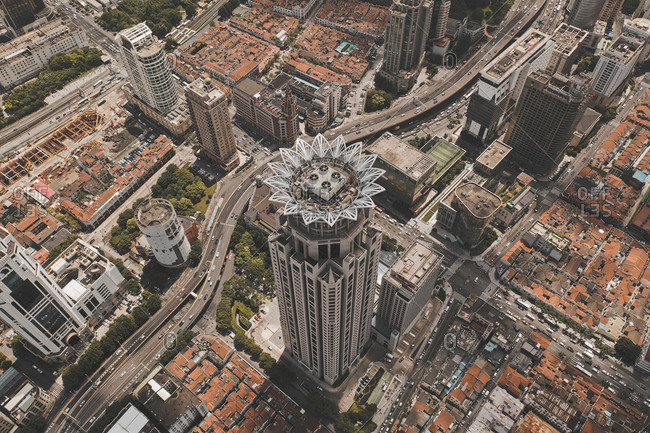 July 19, 2019: Aerial view of  flower-like shaped highriser in Shanghai
