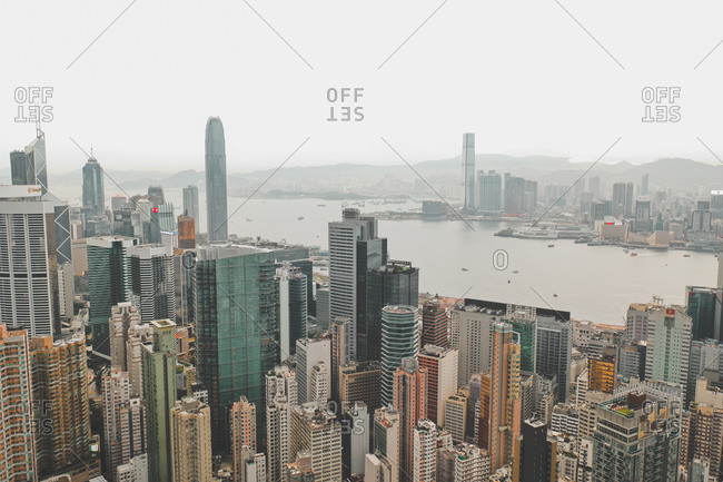 July 20, 2019: Aerial view of Hong Kong's iconic skyline with colorful high-rises, Hong Kong Island.