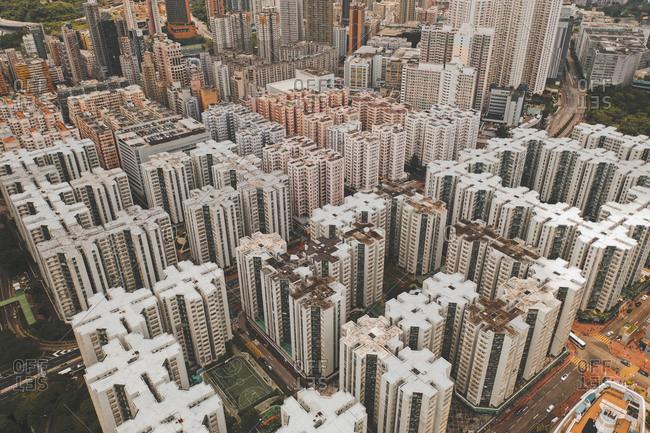 July 21, 2019: Aerial view of Hong Kong abstract apartment blocks in Wan Chai, Hong Kong