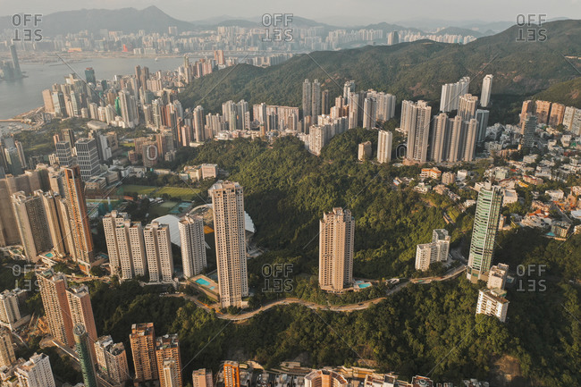 Aerial view of Hong Kong's skyline with colorful high-rise apartments, Hong Kong.