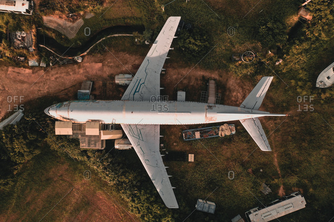 Aerial view of an abandoned plane in  Taiwan, taken topdown.