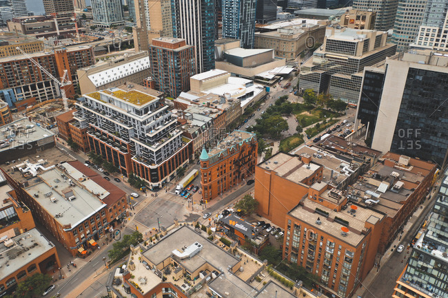 August 15, 2019: Aerial view of iconic Gooderham Building in Toronto, Canada