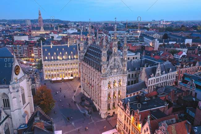 October 23, 2019: Aerial view of lighted Leuven's townhall in Belgium