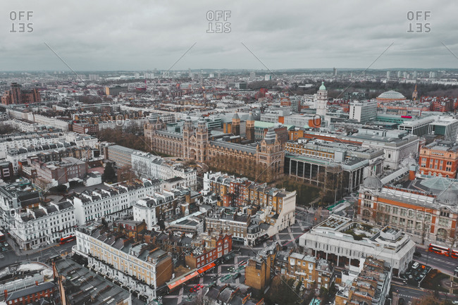 March 15, 2020: Aerial view of the Natural History Museum Ice Rink, with colorful roofs in London