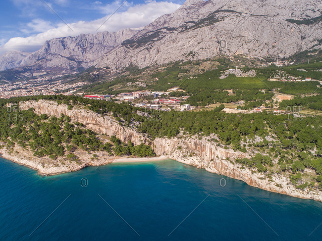 Aerial view of famous Nugal beach near the city of Makarska in Dalmatia, Croatia, which was proclaimed as one of the most beautiful beaches in Croatia.