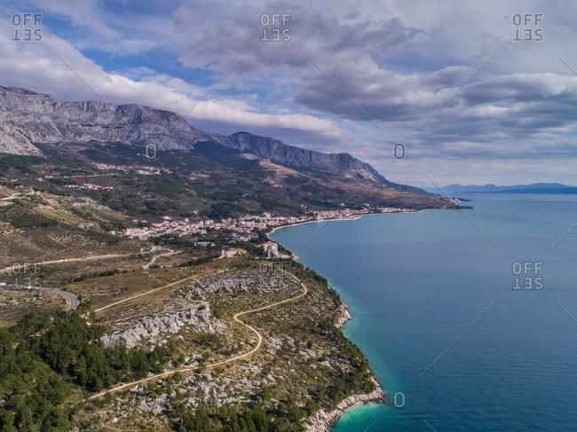 Aerial view of coastline and Tucepi, small touristic place near Makarska in Dalmatia, Croatia.