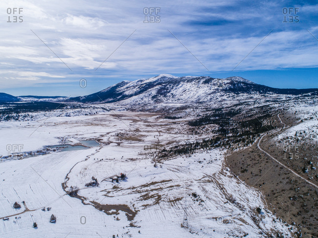 Aerial view of  winter landscape and Vran mountain in famous Blidinje nature park in Bosnia and Herzegovina.
