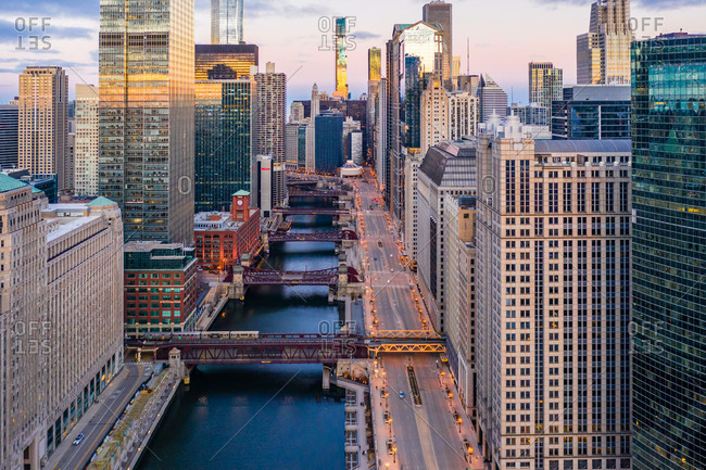 March 27, 2020: Aerial view of empty streets due to the corona virus pandemic at Chicago, United States.