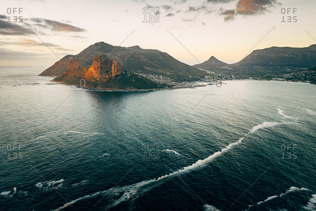 Aerial view of Hout Bay over the Atlantic Ocean from the lookout point on Chapmans Peak Drive, Cape Town, South Africa.