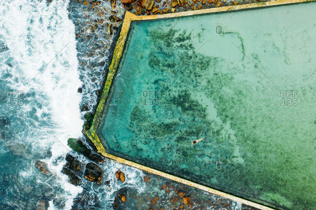 Aerial view of tidal pool in St. James, Cape Town, Western Cape, South Africa.