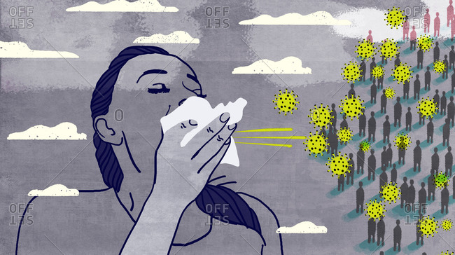 Woman infected with virus sneezes in front of group of people