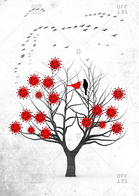 Tree with corona cells and birds flying away