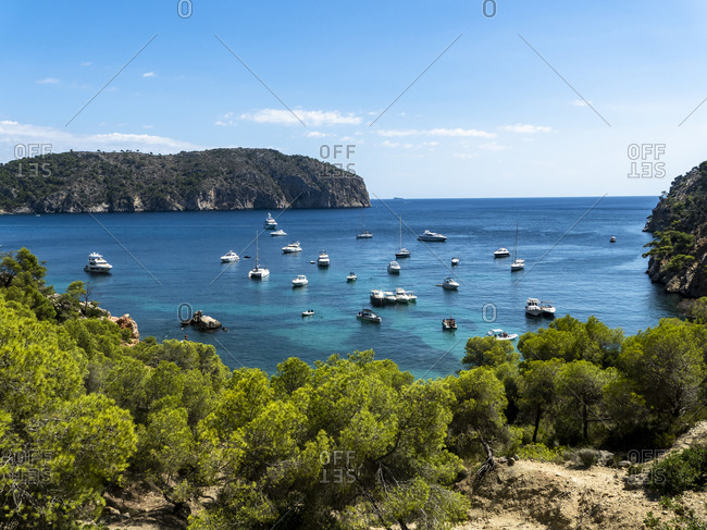 Spain- Balearic Islands- Camp de Mar- Various boats floating in bay of Mallorca island