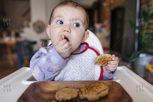 Portrait of baby girl sitting in high chair eating homemade oatmeal cookies with hands