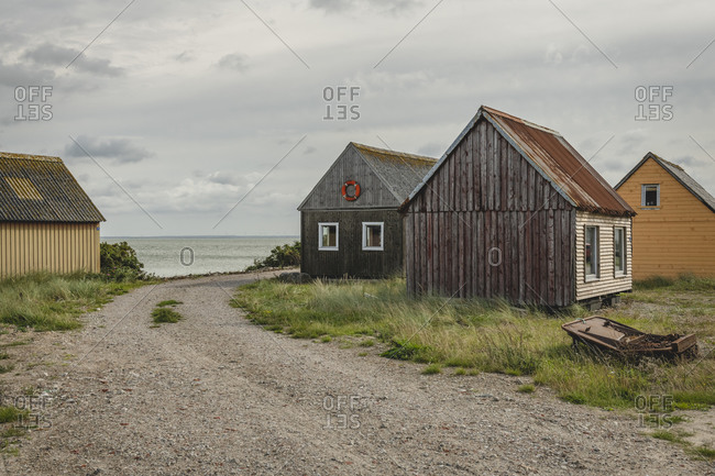 Denmark- Hvide Sande- Huts of coastal fishing village