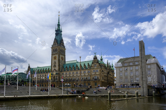 June 9, 2019: Germany- Hamburg- Shore of Little Alster with Hamburg City Hall in background