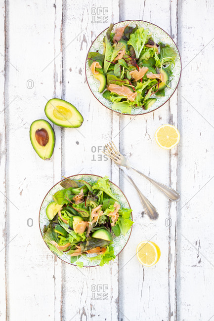 Two plates of ready-to-eat green salad with arugula- Lollo Rosso lettuce- baby spinach- beetroot leaves- avocado- corn salad and salmon