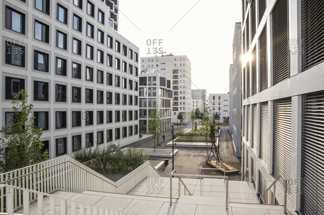 November 12, 2018: Modern high-rise residential building in Munich- Germany