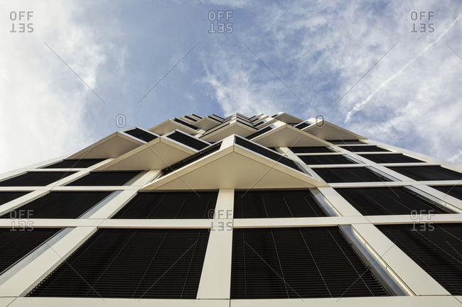 November 12, 2018: Modern high-rise residential building facade from below in Munich- Germany